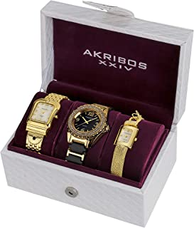 Akribos XXIV Women's Diamond Accented Yellow Gold Tone 3-Watch Set - AK600