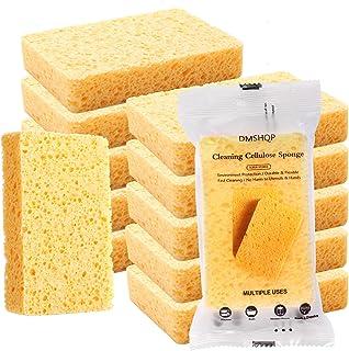 اسفنج سلولزی طبیعی DMSHQP ، اسفنج های اسکراب سنگین ، اسفنج های بدون اسکراب برای حمام آشپزخانه و تجهیزات مکانیکی ، اسفنج های شستشو برای صورت ، بدن ، ظروف و ماشین ها -12 بسته 2 سانتی متری زرد ضخیم
