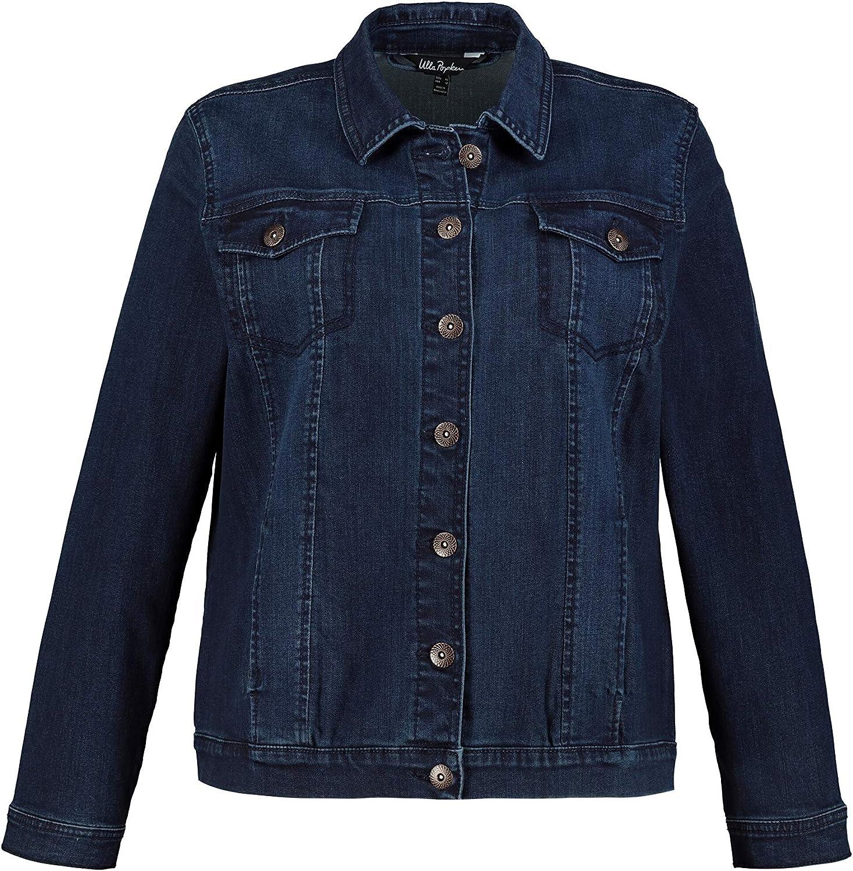 Ulla Popken Womenswear Plus Size Curvy Oversize Classic Denim Button Front Long Sleeve Jacket 749497