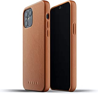 Mujjo Full Leather Case for iPhone 12 Pro/iPhone 12   Premium Genuine Leather, Natural Aging Effect   Slim Fit Design, Wir...