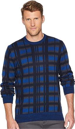 Multicolor Plaid Crew Neck Sweater