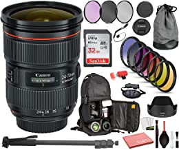 $1599 » Canon EF 24-70mm f/2.8L II USM Lens USA (5175B002) with Professional Bundle Package Deal Kit for Canon EOS Includes: DSLR Sling Backpack, 9PC Filter Kit, Sandisk 32GB SD + More