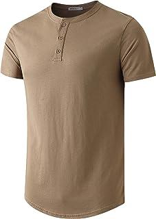 WEMELY Mens Henley Curved Hem Long/Short Sleeve T-Shirt