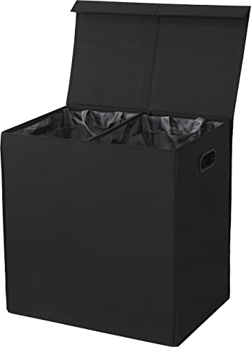 SimpleHouseware Double Laundry Hamper with Lid and Removable Laundry Bags, Black