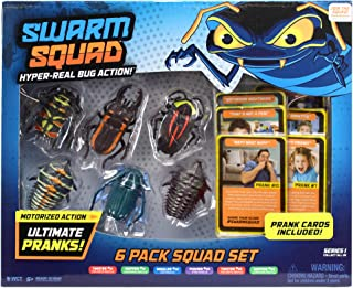 Swarm Squad 6 Pack Set – Contains All Six Hyper-Realistic Motorized Bug Toys That are Ready to Prank and Bonus Prank Cards, Multi