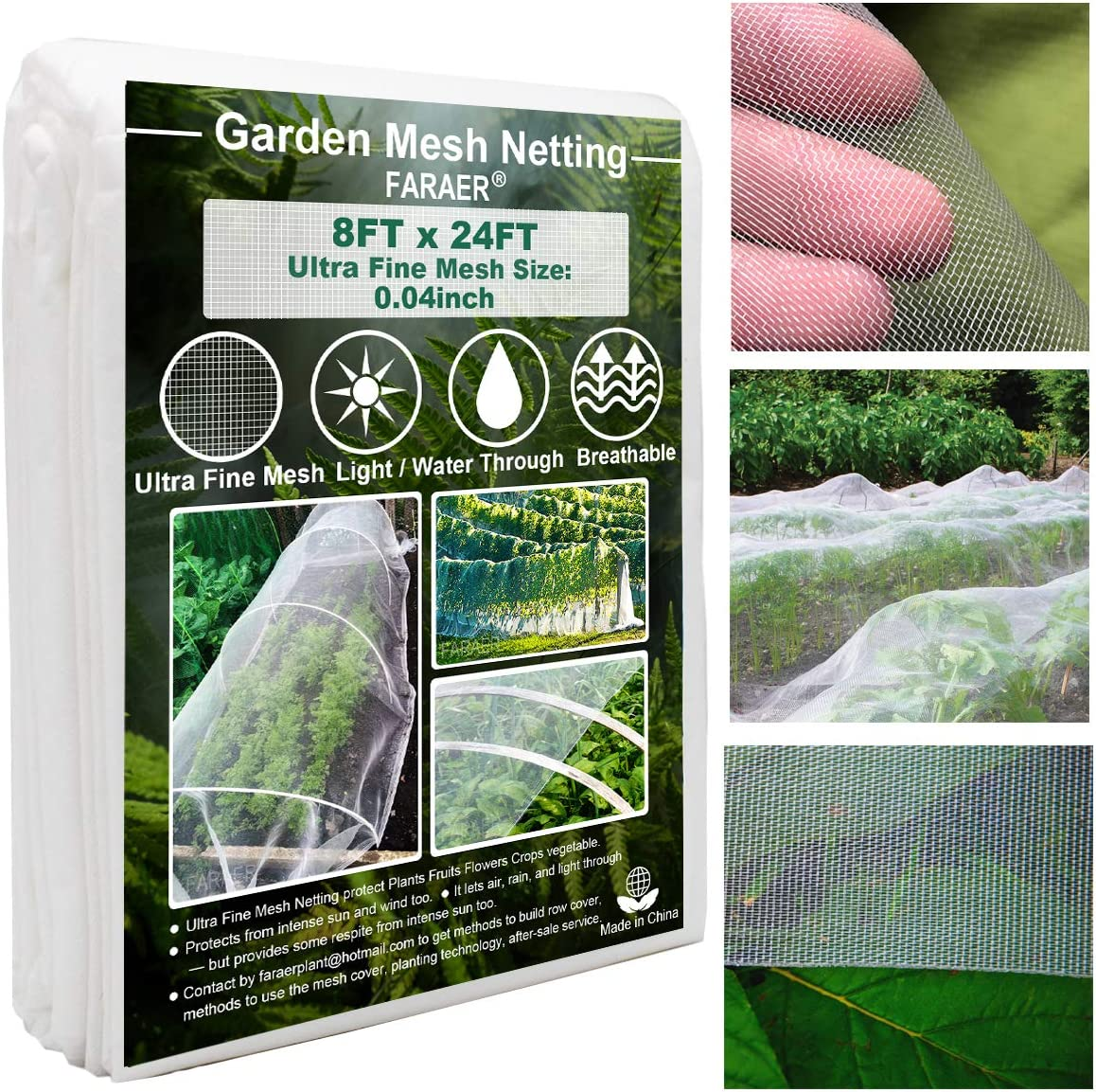 Ultra Fine Garden Mesh Netting, Plant Covers 8'x24' Garden Netting for Protect Vegetable Plants Fruits Flowers Crops Greenhouse Row Cover Protection Mesh Net Covers Patio Gazebo Screen Barrier Net : Patio, Lawn & Garden