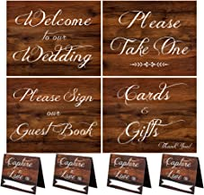 2 City Geese Wedding Signs | Rustic Wood Look Wedding Sign Set with Welcome to Our Wedding, Please Sign Our Guest Book, Cards and Gifts, Please Take One, and 4 Capture The Love Hashtag Table Signs