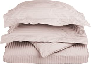 100% Egyptian Cotton 650 Thread Count Full/Queen 3-Piece Duvet Cover Set, Single Ply, Stripe, Grey