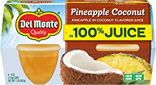 Del Monte Pineapple Coconut Fruit Snack Cups in 100% Juice, 4-Ounce (Pack of 24)