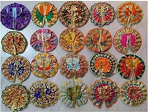 Style OK Drops Golden Set of 10 Laddu Gopal Poshak Laddu Gopal Dresses Kanha Ji Dress Assorted Color Design Size 0 for Jan...