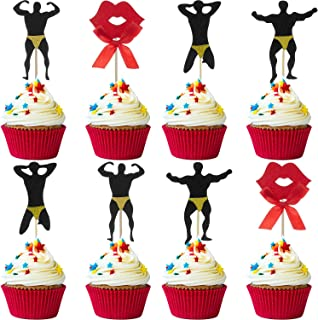 72 Pieces Male Dancer Cupcake Toppers Red Lip Cake Toppers Bachelorette Party Cupcake Toppers for Bachelor Party Supplies