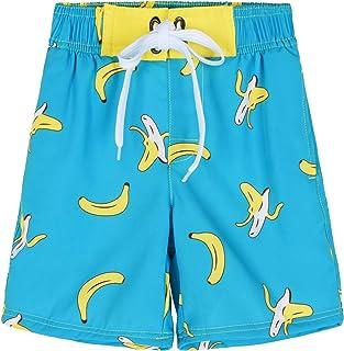 ninovino Boys Bathing Suit Boys Swim Trunks UPF 50+ Quick Dry Striped Boys Swim Shorts,Yellow&Blue Floral,6