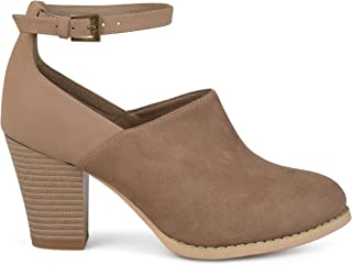 Brinley Co. Womens Ankle Strap Faux Suede Faux Leather Stacked Booties