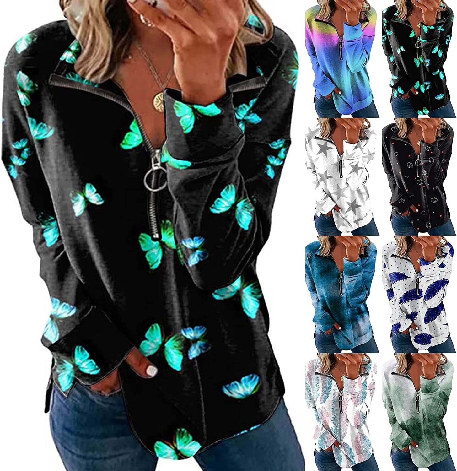 VonVonCo Pullover Sweaters for Women Casual V-Neck Fashion Loose Flower Print Sweatshirt Zipper Lapel Long Sleeve Tops