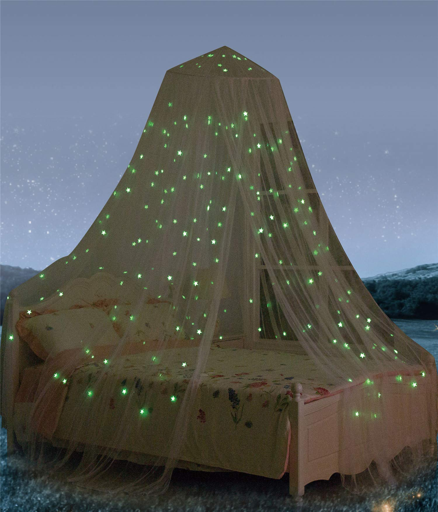 White Glow in Dark with Luminous Stars Bed Canopy Net for adults babies Outdoor Camping Ledyoung Luxury and elegant Mosquito Net