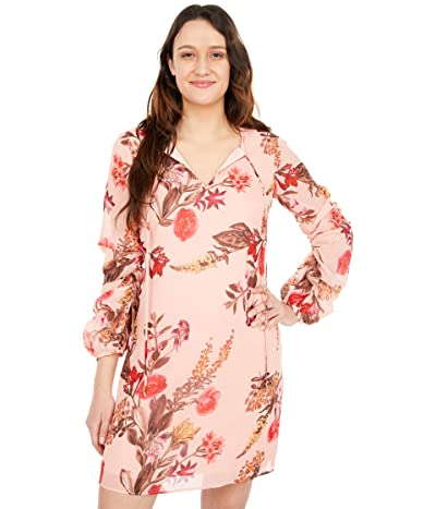 Vince Camuto Printed Chiffon Float with Self Cording and Ruched Sleeve (Blush) Women