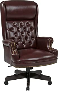 Office Star Deluxe High Back Traditional Executive Chair with Solid Arms and Built in Headrest