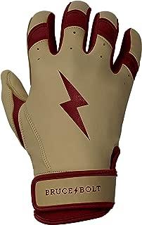 BRUCE+BOLT Adult Premium Pro Natural Series 100% Cabretta Leather Short Cuff Batting Gloves