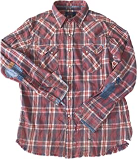 Polo Men's Plaid Flannel Distressed Patched L/S Western...