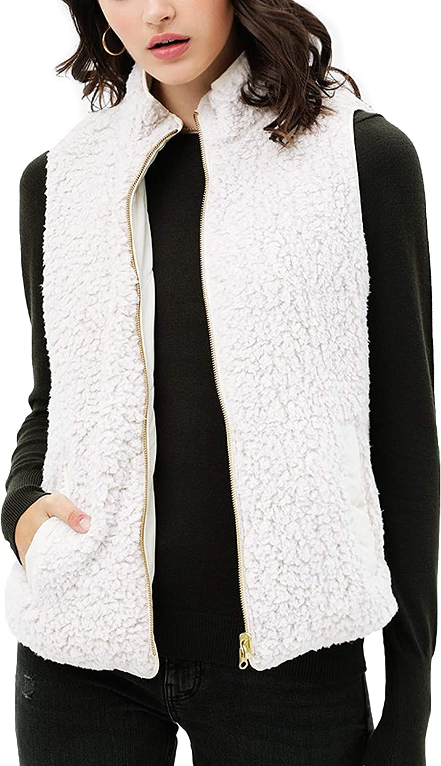 FASHION BOOMY Women's Quilted Padding Vest - Reversible Sherpa Fleece Zip Up Jacket with Pockets