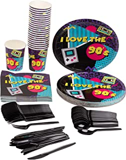 90's Party Decorations, Paper Plates, Napkins, Cups and Plastic Cutlery (Serves 24, 144 Pieces)