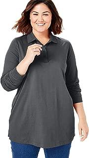 Women's Plus Size Long-Sleeve Tunic Polo Shirt