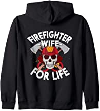 Thin Red Line Firefighter Wife For Life Skull Axes Emblem Zip Hoodie