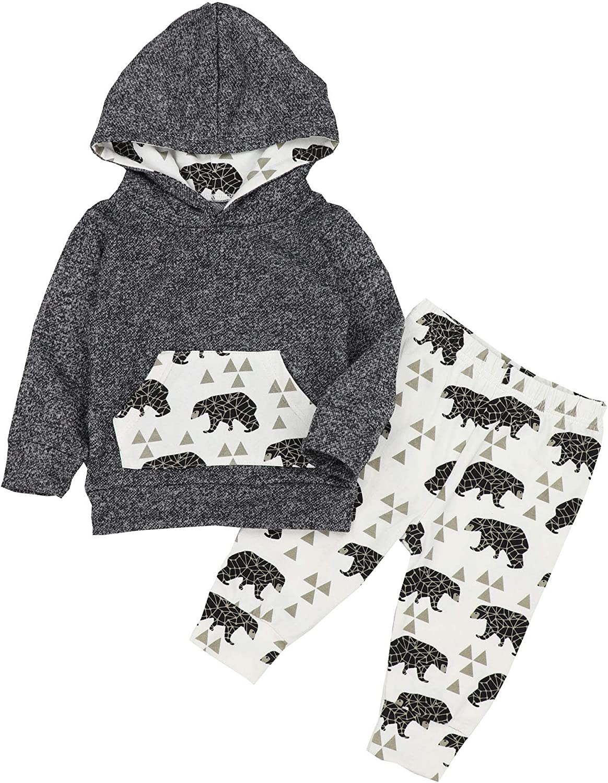 Von kilizo Newborn Baby Boy Clothes Letter Print Long Sleeve Hoodies + Long Pants 2Pcs Baby Boy Outfit