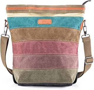 SNUG STAR Handtasche Damen,Canvas Tasche Damentasche Multi-Color-Striped Umhängetasche Damen Groß Schultasche Canvas Shopper Tasch Muttertag Geschenk Hobo Bag A stylen