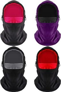 4 Pieces Fleece Winter Windproof HatHeavy Weight Ski Full Face Covering Unisex Balaclava Fleece Scarf Outdoor Warm Face Covering Cap for Men Women