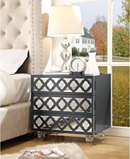 Inspired Home Pablo Dark Grey Glossy Nightstand - 3-Drawer | Mirrored | Side Table | Modern | Lucite Acrylic
