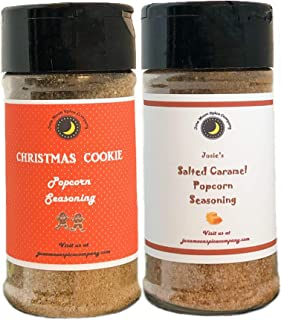 Premium | POPCORN SEASONING | Variety 2 Pack | Salted Caramel | Christmas Cookie | Crafted in Small Batches with Farm Fresh SPICES for Premium Flavor and Zest | 3.5 oz.