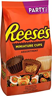 REESE'S Chocolate Peanut Butter Cup Candy Assortment (Dark, Milk, and White Creme), Miniatures, 32.1 oz Bulk Bag