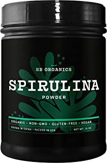 SB Organics Spirulina Powder - 1 lb Canister of Organic Non-GMO Non-Irradiated Gluten-Free Vegan Pure Spirulina Powder