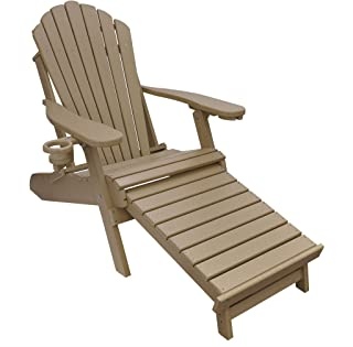 ECCB Outdoor Outer Banks Deluxe Oversized Poly Lumber Folding Adirondack Chair with Integrated Footrest (Weather Wood) …