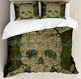 Ambesonne Camo Duvet Cover Set, Abstract Texture with Skull and Crossbones Pattern Aged Rusty Grunge Style, Decorative 3 Piece Bedding Set with 2 Pillow Shams, Queen Size, Green Cream