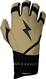 BRUCE+BOLT Adult Premium Pro Natural Series 100% Cabretta Leather Long Cuff Batting Gloves
