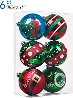 Valery Madelyn 6ct 100mm Delightful Elf Shatterproof Christmas Ball Ornaments Decoration,Themed with Tree Skirt(Not Included)