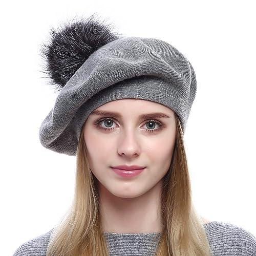 83f91f92d1e8c Women Wool Beret - Real Silver Fox Fur Pom Pom Beanies Winter Knit Cashmere  Hats