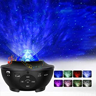 Star Projector, Ocean Wave Night Light Projector with Adjustable Lightness Remote Control Timer 10 Lighting Modes and Buil...