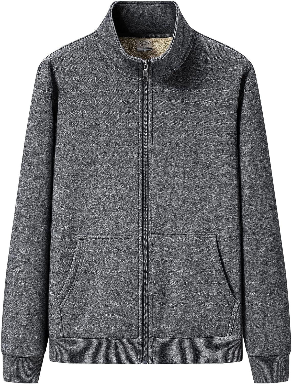 Kissonic Mens Warm Stand Collar Full Zip Sherpa Lined Fleece Sweatshirt Winter Jacket coat