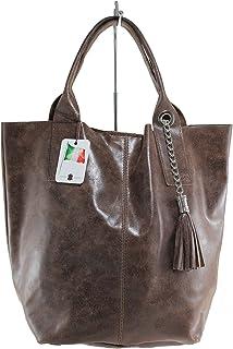 Chicca Tutto Moda CTM Borsa donna a Spalla con Manici Semilucida, 39x36x20cm, Vera Pelle 100% Made in Italy