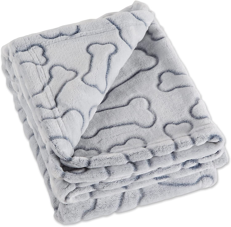 "Bone Dry Embossed Bone Print Pet Blanket, 36x48"", Gray : Everything Else"