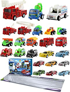 Purple Ladybug Novelty Toy Cars 2019 Advent Calendar for Kids, with 24 Different Pull Back Vehicles Including Race Cars, Construction Vehicles & a Fold Down Race Track! Perfect Calendars for Boys!