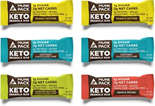 Munk Pack Variety Keto Granola Bar with 1g Sugar, 2g Net Carbs | Chewy | Grain Free | Vegan | Gluten, Dairy and Soy Free | 6 Pack