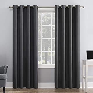 """Sun Zero Duran Thermal Insulated 100% Blackout Grommet Curtain Panel, 50"""" x 95"""", Charcoal Gray"""