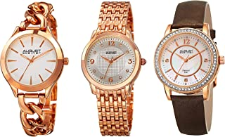 August Steiner AS8241 Women's Watch Set – 3 Designer Ladies Watches – Crystal Studded with Leather Strap, Stainless Steel Bracelet and Chain Link Band