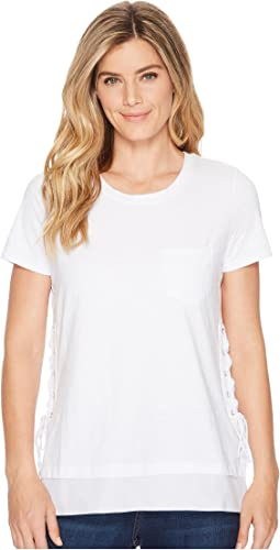 Solid Jersey Slub Short Sleeve Crew Neck Top w/ Lace-Up Side Detail