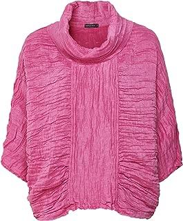 Grizas Women's Linen & Silk Crinkled Cowl Neck Top Pink