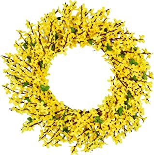 DearHouse Artificial Forsythia Flower Wreath - 17.5